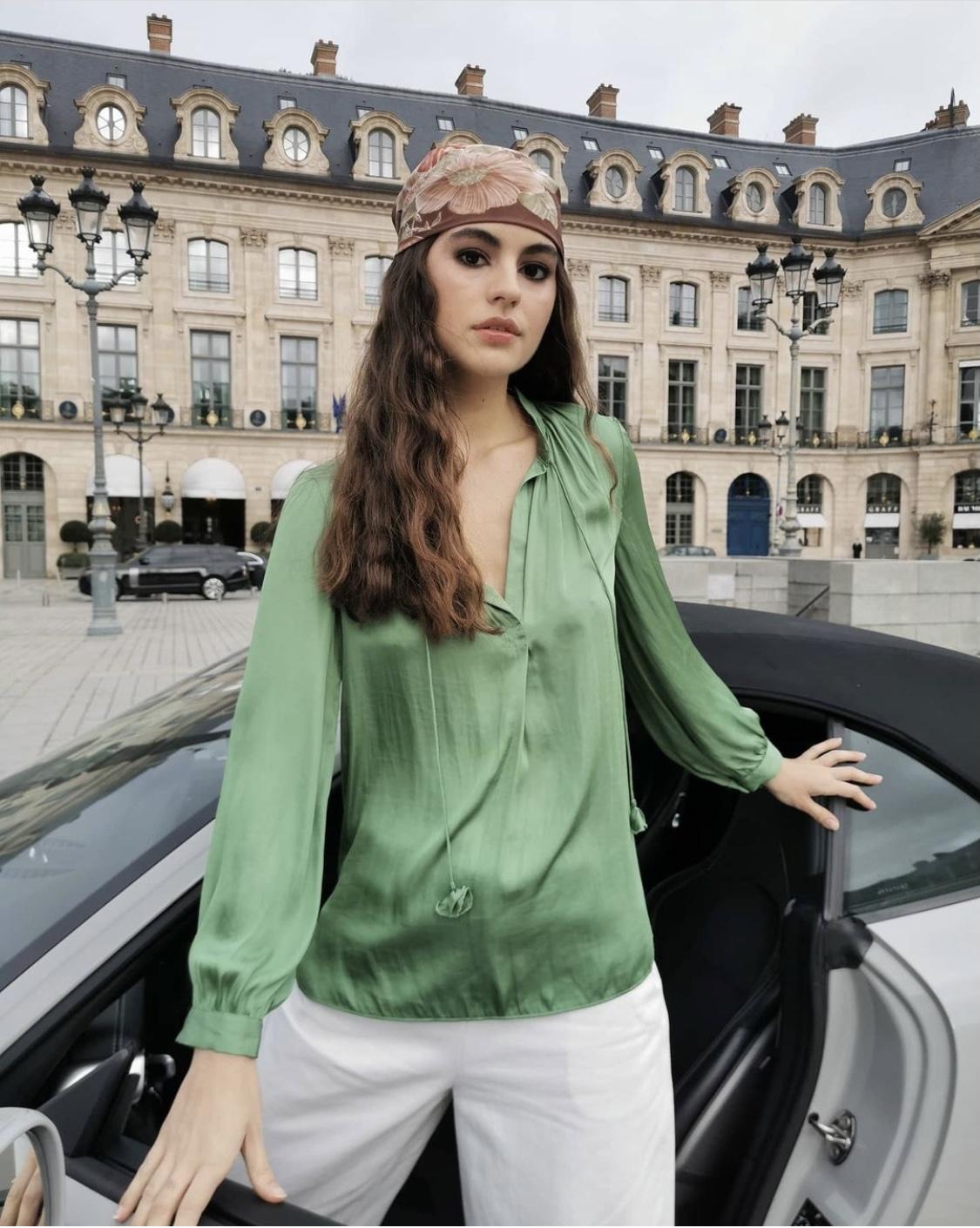Blusa Saten verde misha barcelona